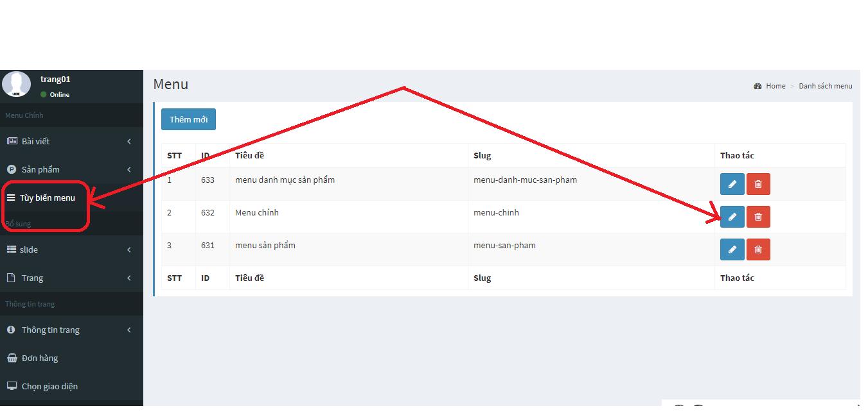 Hướng dẫn thay đổi  hiển thị trên thanh ngang trên web bán hàng
